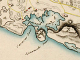 Part of a map from 1836 of the island Curaçao